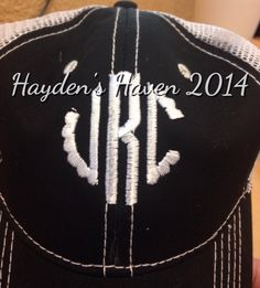 Personalized circle monogrammed trucker hat by HaydensHaven on Etsy https://www.etsy.com/listing/197000589/personalized-circle-monogrammed-trucker
