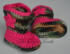 NEW! Crochet Camo Baby Boots~You Choose Colors~ For Boy or Girl Crochet Camo Baby Cowboy Boots Baby Infant Shoes by TheGrapeTurtle, $25.00