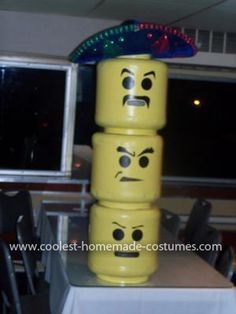 Homemade Lego Men Halloween Costumes: Two of my friends and I do a local Halloween contest on a dinner / party cruise boat every year. Each year we make our own costumes. So far we have one