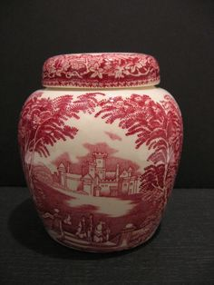 "Mason's Ironstone Vista 4"" Prunus Tea Caddy Ginger Jar Pink Red Country Scene"