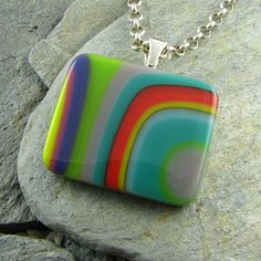 Funky, Retro Flowing Colorful Fused Glass Pendant ~ LindsaysDesigns. Fused.