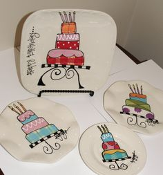 Items similar to Happy Birthday 10 inch family plate on Etsy Sharpie Projects, Sharpie Crafts, Sharpie Art, Oil Sharpie, Painted Ceramic Plates, Ceramic Painting, Painted Pottery, Sharpie Plates, Keramik Design