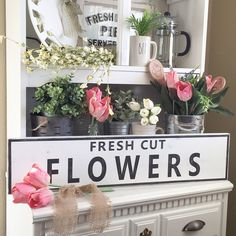 """Who's ready for Spring and some warmer weather? This is the perfect sign to start decorating for the Spring season. Please visit our shop to see this beautiful large Fresh Cut Flowers sign 32""""x 7"""". Also available in 15""""x 3.5"""" See you there🌺"""