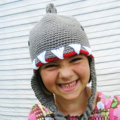 kids and adults can stay warm with this crochet shark beanie hat