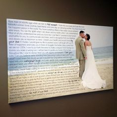 Cool Wedding Choices - Cool Idea for wedding vows and wedding photograph ... canvas print with words over photo #wedding #thatseasier #ittakestwo