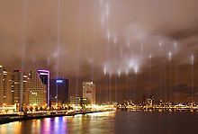 On 14 May 2007, the 1940 bombing of Rotterdam is memorialized by shining lights along the original fire line, where the German Air Force fired during the WWII German invasion of the Netherlands; Wikipedia