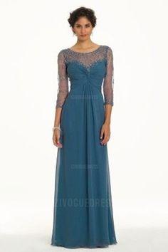 Sheath/Column Scoop Floor-length Chiffon Mother of the Bride Dress