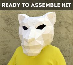 Ready To Assemble Kit For Tiger Mask. | FREE SHIPPING | wolf mask | forest animal | papercraft | Halloween mask | animal mask | Paper Animal by PlainPapyrus on Etsy
