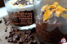 Ohlala! This superfood chocolate pudding with chia seeds, maca and raw cocoa nibs (and a splash of coconut cream) is such a tasty way to provide you with a whole bunch of beautifying vitamins, minerals and trace elements. Besides, it's great for your sexlife :) Whoop! Doesn't this make eating healthily extremely easy and fun?!