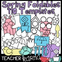110 SPRING  Foldables, Interactives & Flip Book TEMPLATES Clipart! Perfect for your Interactive Notebooks!! You will LOVE the birds, birdhouses, clouds, flowers, flower pots, frogs, ladybugs, raindrops, rain boots, garden spades, tulips, umbellas, and MORE accents! $5.00