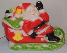 Vintage Empire Blow Mold Lighted Display - Christmas Santa & Sleigh