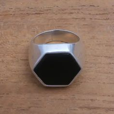 UNICEF Market | Hexagonal Onyx Men's Signet Ring from Bali - Dark Stamp School Rings, Bold Rings, Ring Crafts, Jewelry Packaging, Signet Ring, Gemstone Jewelry, Jewelry Collection, Jewelry Gifts, Bali