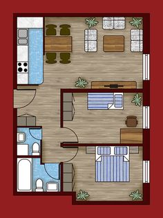 Transform a plain floor plan created in AutoCAD into a visually appealing floor plan with patterns/textures and shadows by using Photoshop. Sims House Plans, House Layout Plans, House Layouts, Small House Plans, House Floor Plans, 3d Home, Apartment Plans, Bedroom House Plans, Small House Design