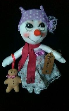 Handmade, Art, Cloth, Rag Doll, Snowman, OOAK, Collectable by Bianca