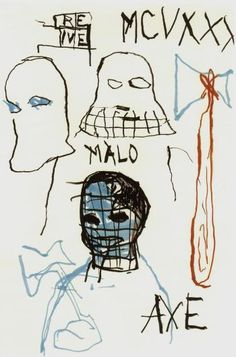 JEAN MICHEL BASQUIAT Rene Ricard / Axe Executed in 1984, this work is accompanied by a certificate of authenticity issued by the Authentication Committee of the Estate of Jean-Michel Basquiat.