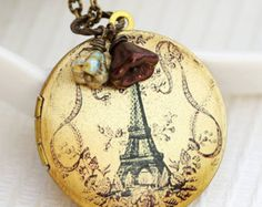 Eiffel Tower Locket,Locket,Brass Locket,Image locket,picture locket,Wedding Necklace
