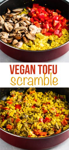 Vegan tofu scramble recipe with bell pepper and mushroom. This tastes amazing and was really satisfying! #tofuscramble #vegan #breakfast #veganbreakfast #meatless #dairyfree #eggfree
