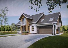 Projekt domu z poddaszem o pow. 186,9 m2 z obszernym garażem, z dachem dwuspadowym, z tarasem, z wykuszem, sprawdź! Modern Architecture House, Design Case, Planer, Exterior Design, Home Fashion, House Plans, Sweet Home, Villa, House Design