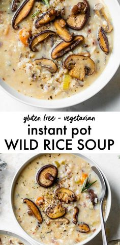 INSTANT POT WILD RICE SOUP - filled with mushrooms and parmesan cheese, it's a quick soup rice that's gluten free and meatless! Healthy Soup Recipes, Vegetarian Recipes, Cooking Recipes, Wild Mushroom Soup, Mushroom Hunting, Wild Mushrooms, Hearty Vegetable Soup, Wild Rice Soup, Mediterranean Recipes
