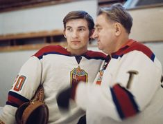 1972 / Tretiak with Tarasov the Red Army & National Team Coach Women's Hockey, Hockey Games, Hockey Boards, Summit Series, Team Coaching, Red Army, World Championship, Nhl, All Star