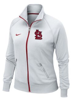 St. Louis (STL) Cardinals Women's White Track Jacket by Nike $65.00 www.rallyhouse.com. I want!!