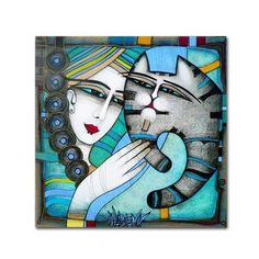 """Trademark Art 'Calin' Graphic Art Print on Wrapped Canvas Size: 14"""" H x 14"""" W"""