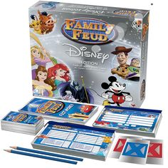 """One of the most popular game shows of all time, now is completely Disney themed!. Play, pass and steal your way to victory. The top answers are on the board, do you know what the """"Survey Says?"""" Packed with Survey Questions from Disney! Give the most popular answers to over 500 Disney survey questions to win. <br><br>The Cardinal Games Disney Family Feud Game Features:<br><ul><li>Ages 8 and Up</li><br><li>2 Plus Players</li..."""