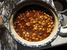 baked beans in a stoneware pot