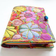 This is a handmade machine stitched fabric textile notebook cover with a rainbow coloured plain paper notebook. Made from layers of fabric including hand dyed Egyptian cotton and silk fabrics. Egyptian Cotton, Silk Fabric, Rainbow Colors, Folk, Handmade Items, Coin Purse, March, Notebook, Mac