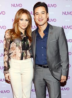 Jennifer Lopez and Mario Lopez posed together at the NUTOtv 2012 Upfront Event