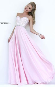 2015 Cheap Pink Sherri Hill 1944 Beaded Strapless Long Evening Gown Online Sale