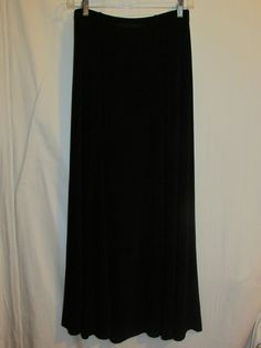CHICO'S TRAVELERS Sz 1 SM / 8 Black Flared Skirt Ankle Length Maxi #Chicos #Maxi