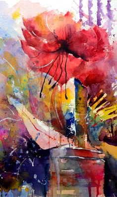 Watercolor flower abstract - Gerard Hendriks - very cool! Abstract Tree Painting, Abstract Flowers, Abstract Watercolor, Watercolor Flowers, Watercolor Paintings, Watercolors, Art Floral, Art Aquarelle, Beautiful Artwork