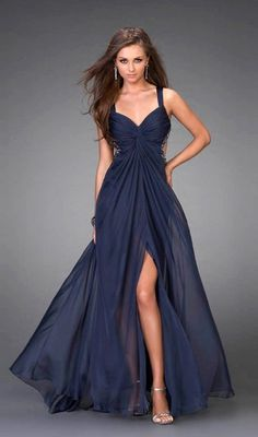 Amazing A-line V-neck Floor-length Sleeveless Chiffon Dresses  like this silhouette