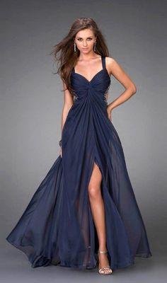 Amazing A-line V-neck Floor-length Sleeveless Chiffon Dresses  like this silhouette