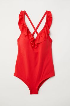 09767f9afd H M+ Swimsuit with Flounce - Bright red - Ladies