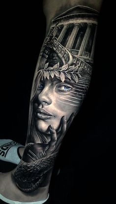 Beautiful Surrealist Double-Exposure Tattoos Mash Up People, Architecture & Nature - jaw-dropping face morph tattoo © tattoo artist Michael Zammit 💟💟💟💟💟 - Athena Tattoo, Aphrodite Tattoo, Zeus Tattoo, Wolf Tattoo Sleeve, Full Sleeve Tattoo Design, Best Sleeve Tattoos, Leg Tattoo Men, Girl Face Tattoo, Tattoo Girls