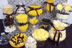 Black and yellow candy buffet