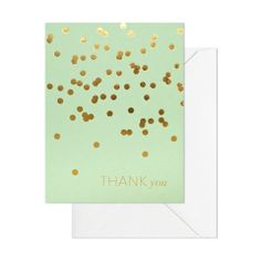 Mint Thank You card.  Hand-fed on antique letterpress machinery by Sugar Paper, founded in 2003 by close friends and graphic designers, Chelsea Shukov and Jamie Grobecker. Gold foil on mint paper with a white envelope. Folded card, 14cm x 10cm, blank inside.  Tactile, beautiful and special, a letterpress piece is a gift for the recipient, who can distinguish the technique simply by running his or her fingers over the paper.