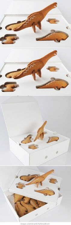 let's go for a walk with dinosaurs cute packaging curated by Packaging Diva PD  Wonder if the recipe is gingerbread?