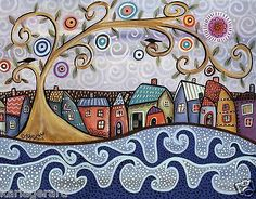 By The Sea 14x11 Houses Cat Swirl Tree ORIGINAL Canvas PAINTING FOLK ART Karla G...Brand new painting...for sale..