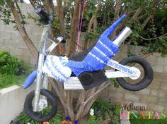 Dirtbike Piñata for my boys bday parties Motocross Birthday Party, Bike Birthday Parties, Dirt Bike Birthday, Motorcycle Birthday, 4th Birthday, Birthday Ideas, Dirt Bike Party, Motorcycle Party, Bmx
