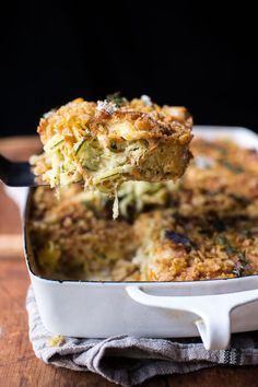One Pan Healthier Chicken and Zucchini Noodle Casserole #zucchini #casserole #dinner