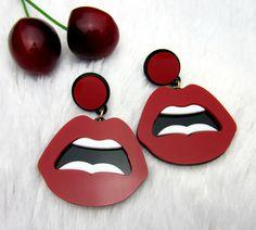 Barato Jóia Da Forma Do Punk europeu Clube Red Sexy Lips Brincos Para As…