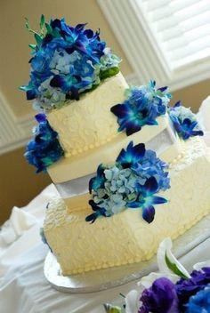 Flowers, Reception, Cake, Blue, Purple, Silver, Your wedding by jen