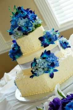 Flowers, Reception, Cake, Blue, Purple, Silver, Your wedding by jen