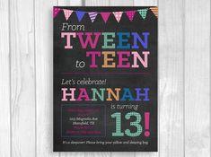 16 best 13th birthday party invitations images on pinterest custom printable 5x7 tween to teen girls 13th thirteen birthday party invitation chalkboard with filmwisefo