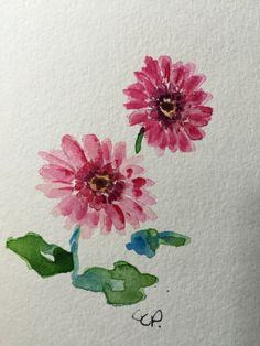 Pink Gerber Daisies Watercolor Card / Hand Painted by gardenblooms
