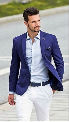 baby blue shirt navy suit - coral tie and coral hankie