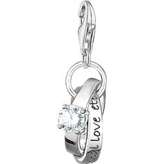Thomas Sabo Charm Club Wedding Rings Charm ($64) ❤ liked on Polyvore featuring jewelry, engraved charms, thomas sabo jewellery, bride jewelry, charm jewelry and engraved jewelry
